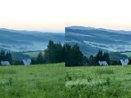 выделение деталей на фотографии пейзажа при восходе солнца