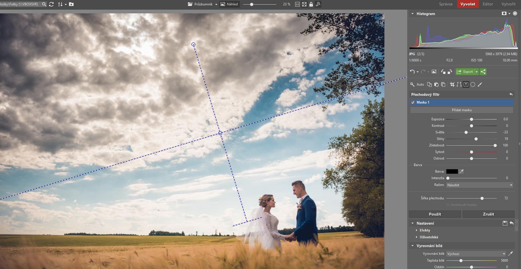 выделение верхней части с облаками с использованием фильтра перехода