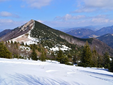 Kraviarske mountain as viewed from the blue tourist trail