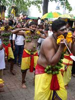 Thaipusam – Hindu cleanse festival. Festival includes different types of sacrifice (e.g. delivering bowls with milk or spikining through different body parts)
