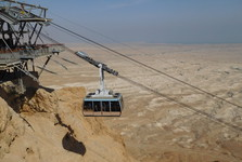 cable car, Masada fortress, and the Judaea desert