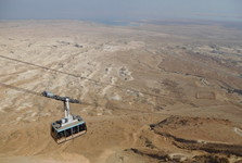 cable car, Masada fortress and the Judaea Desert