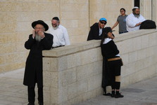 before the western wall – tourists and orthodox Jews