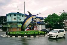 круговой перекресток со скульптурой меч-рыбы