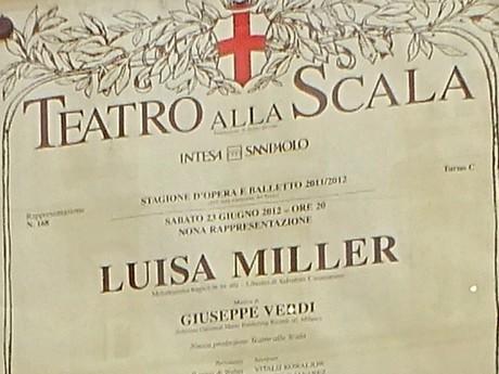 plagát na predstavenie v La Scale (Miláno)