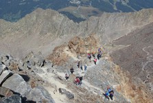 good weather forecast means crowds climbing up the mountain
