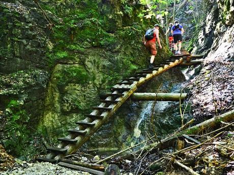 prechod cez drevený mostík