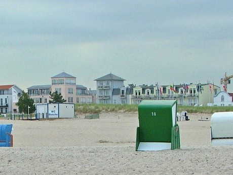 the vista over the promenade from the beach (Warnemünde)
