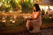 Wat Phan Tao při svátku Yi Peng