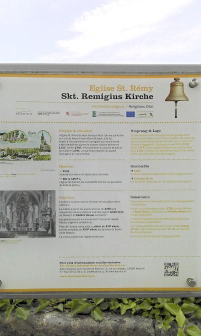 Koerich (kostel sv. Remigia, informační tabule)