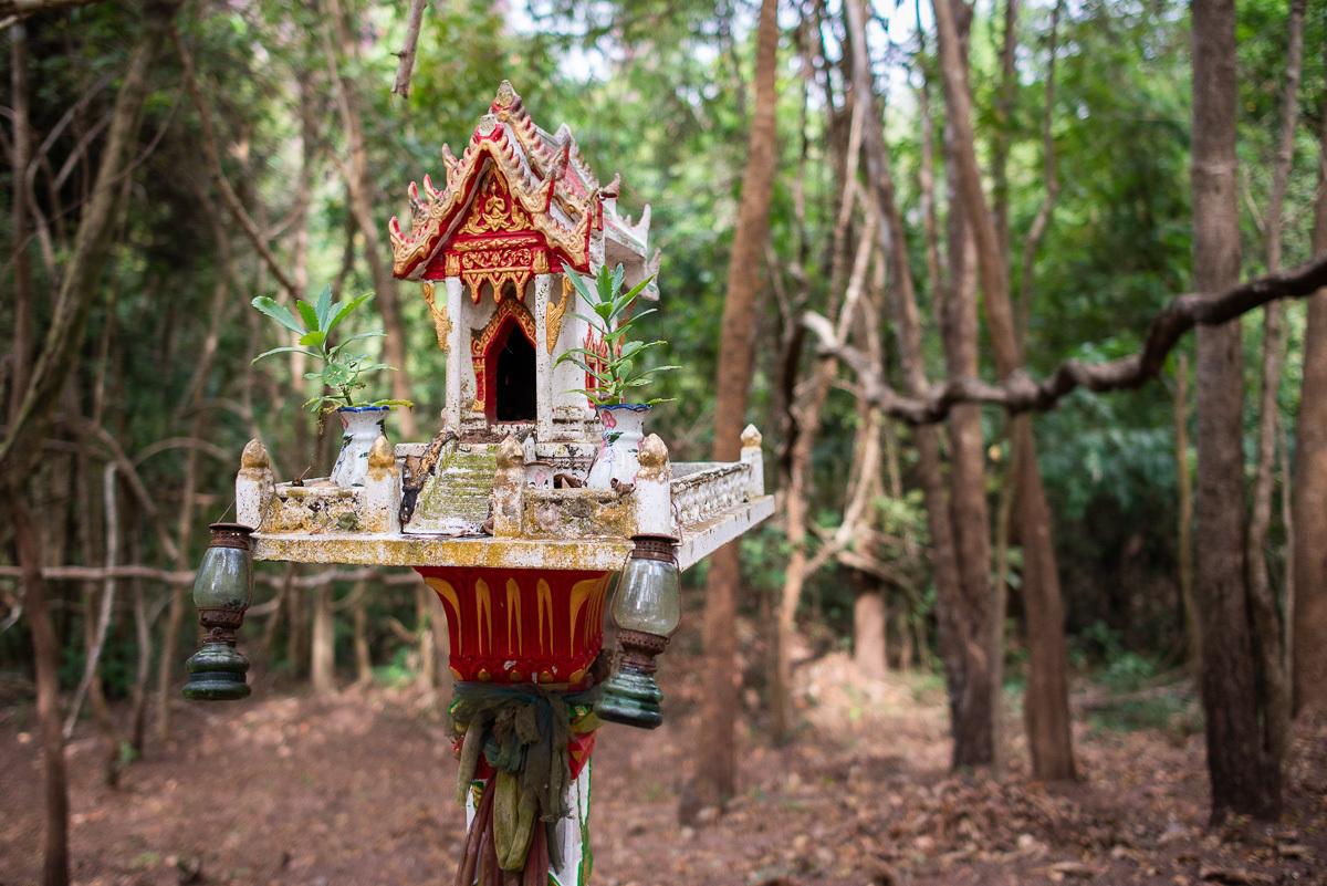 lesní buddhistická svatyňka