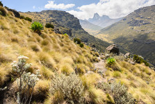 a beautiful vista over a vally spanning up to the summit of Mt Kenya