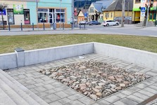a presentation of the original cobble stone square