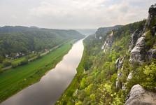 kaňon Labe směrem na Drážďany