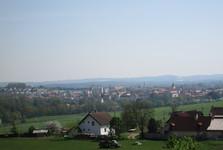 pohled na Horažďovice z úbočí Práchně