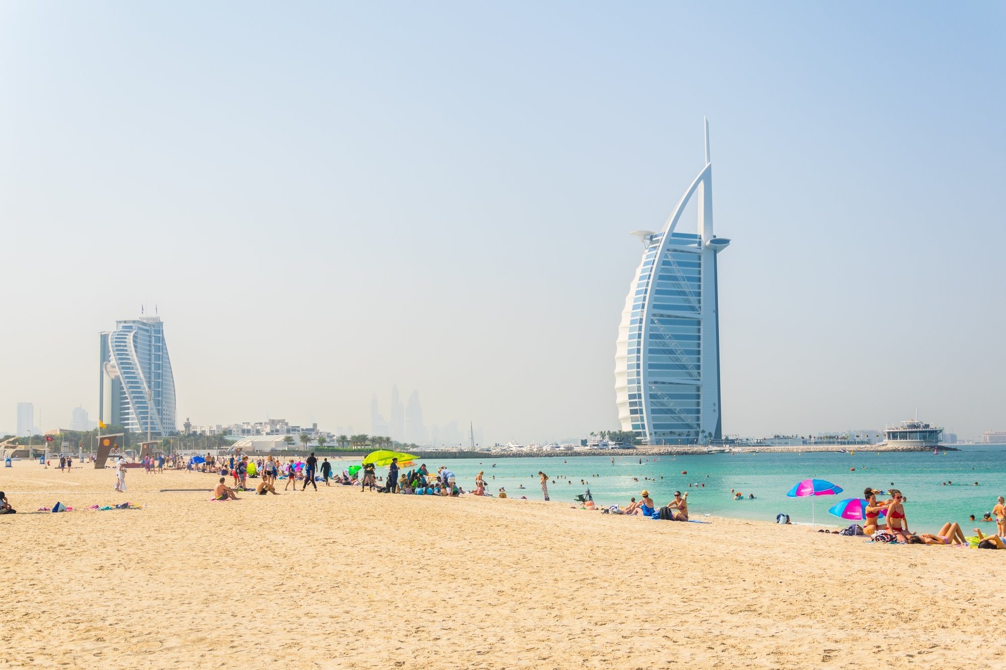 a beach with a vista over Burj Al Arab