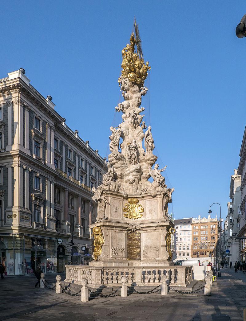 sloup Nejsvětější Trojice na náměstí Graben v centru Vídně; wikipeda.org