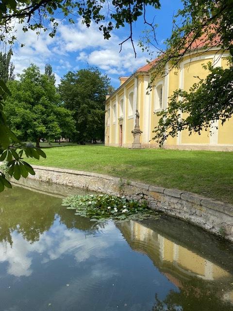 rybník s kostelem ve Kněževsi