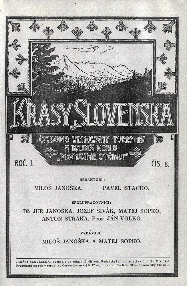 Krásy Slovenska, 100 let (obálka prvního čísla časopisu, 1921)