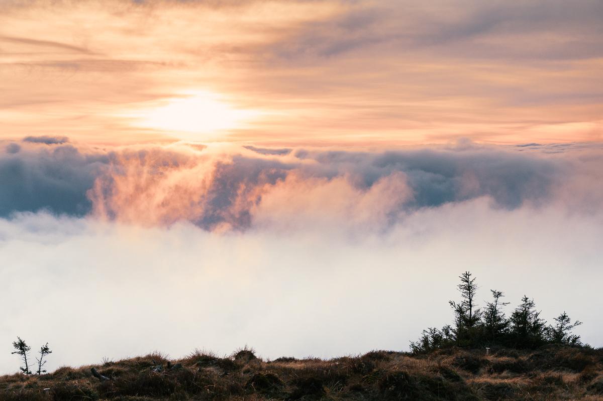západ slunce z vrcholu Keprníku