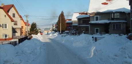 obec Hruštín v zime