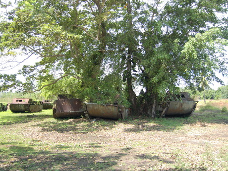 remains of American military vehicles
