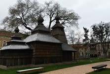 belfry adjacent to wooden church