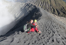 fascinating experience while sitting on the edge of Bromo's crater