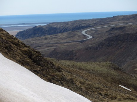 the view from the mountains which are along the Reykjadaluri river