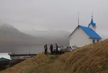 """""""hostel"""" kostel a mlha Východních fjordů"""