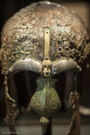 "one of the most precious items at ""Historiska musset"" (Museum of History) is an iron helmet from Uppland, about 550-800 B.C."