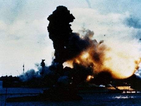 the explosion on Arizona during the attack on Pearl Harbor