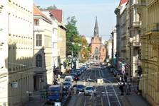 Husova ulice (v pozadí kostel Jana Amose Komenského)