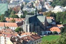 the vista of Brno from Spilberk – the Assumption of the Virgin Mary basilica