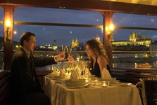 the most romantic place for a dinner is the deck of a steamboat in the middle of a medieval city
