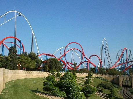 Shambhala, the white roller coaster, the red one is  Dragon Khan
