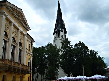 Spišská Nová Ves – town hall and the Assumption of the Virgin Mary church