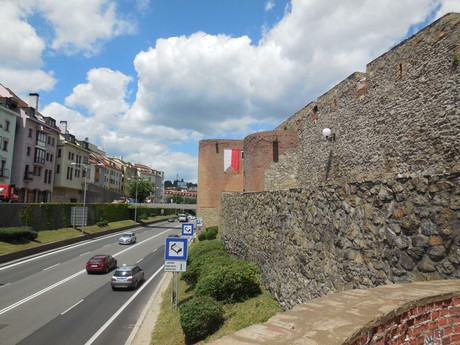 the view of the walls and Staromestska street