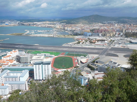 the view over the Gibraltar airport and stadium