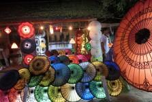 výroba a prodej barevných deštníků v centru Bganu