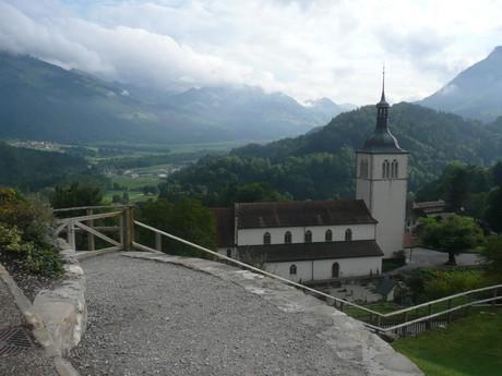 výhled z hradu v Gruyéres