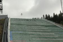 training on ski jump bridge
