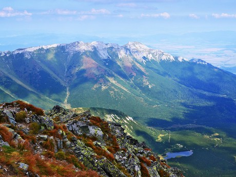 the view from atop Jehneci pyramidal peak over the Belianske Tatras