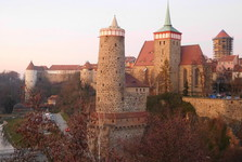 the vista from Friedensbrücke bridge over Michaelskirche and Mühltor, Bautzen
