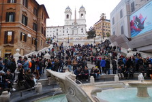 Bernini fountain - Barcaccia, Spanish Steps, Trinita dei Monti church
