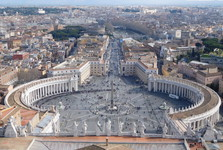 the vista from the dome of St Peter's basilica over the St Peter's square