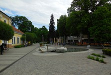 a square with a fountain