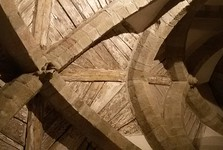 the detail of original wooden layings of crypt's vault