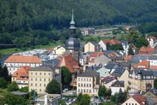 pohled z vyhlídky od výtahu na Bad Schandau