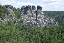 the vista from the Basteibrücke over the gems of Saxon Switzerland